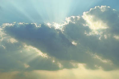 Sun Rays Digital Art - Rays Of Light In Clouds by Linda Phelps