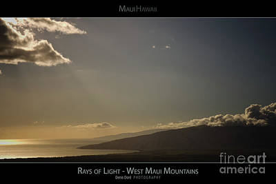 Rays Of Light On The West Maui Mountains - Maui Hawaii Posters Series Print by Denis Dore