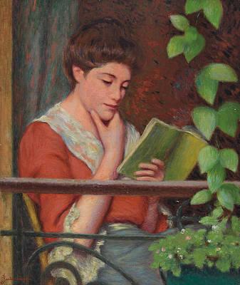 Vines Painting - Reading Al Fresco by Federigo Zandomeneghi