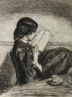Tonalist Relief - Reading By Lamplight by James Abbott McNeill Whistler