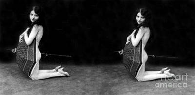 Rainy Day Photograph - Ready For A Rainy Day, Nude Model, 1928 by Science Source
