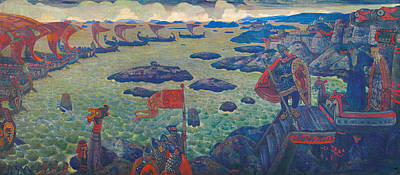 Townscape Painting - Ready For The Campaign, The Varangian Sea by Nicholas Roerich
