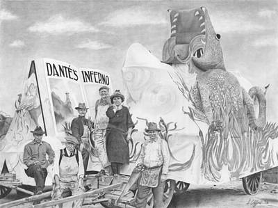 Mardi Drawing - Ready For The Parade - Galveston Mardi Gras, 1923 by Stacy Clifford