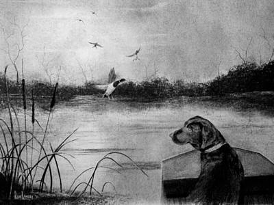 Black Labrador Drawing - Ready To Fetch by Ron Landry
