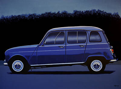 Old Trucks Painting - Renault 4 1961 Painting by Paul Meijering