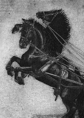 Rearing Horses Print by Eric Fan
