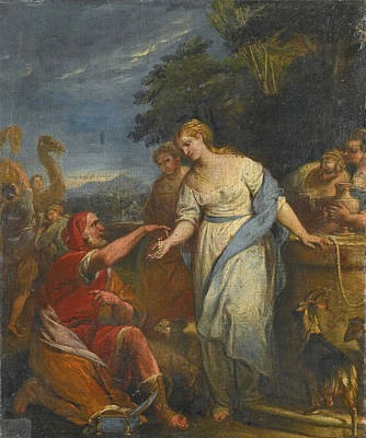 Painting - Rebecca And Eliezer At The Well by Gregorio Lazzarini