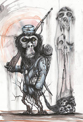 Chimpanzee Mixed Media - Rebel Evolution by Tai Taeoalii