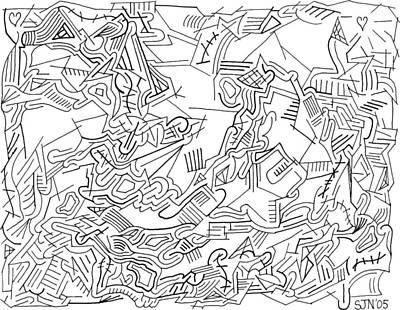 Maze Drawing - Receptive by Steven Natanson