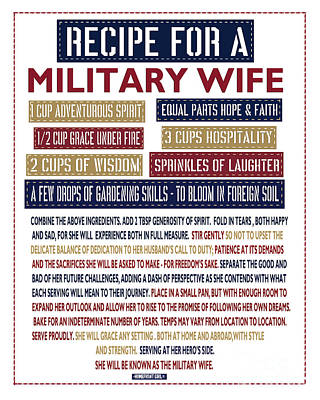 Recipe For A Military Wife Print by Gaby Juergens