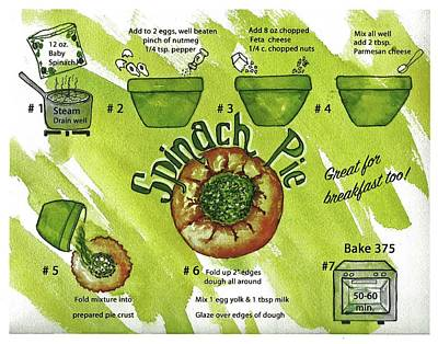 Spinach Painting - Recipe-spinach Pie by Diane Fujimoto