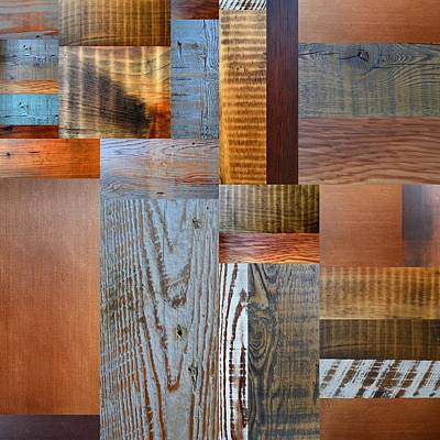 Aged Wood Digital Art - Reclaimed Wood Collage 2.0 by Michelle Calkins