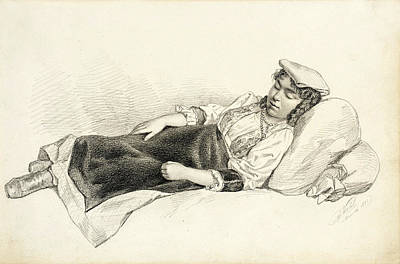 Drawing - Reclining Peasant Girl by Arthur Nahl