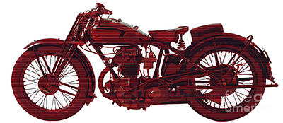 Red Digital Art - Red Ajs Motorcycle by Pablo Franchi