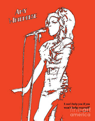 Musicos Drawing - Red Amy by Pablo Franchi