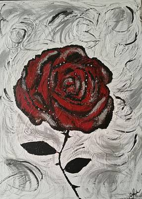 Floral Painting - Red And Black Rose by Christina Taylor