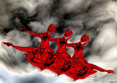 Ballerinas Painting - Red And Black Sky Ballet by Abstract Angel Artist Stephen K