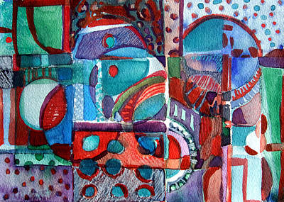Red And Green Jazz Print by Mindy Newman