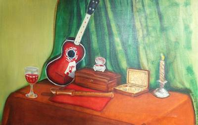 Box Wine Painting - Red And Green Still Life by Denise Fulmer