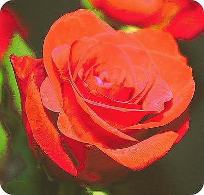 Red And Orange Print by Cathie Tyler