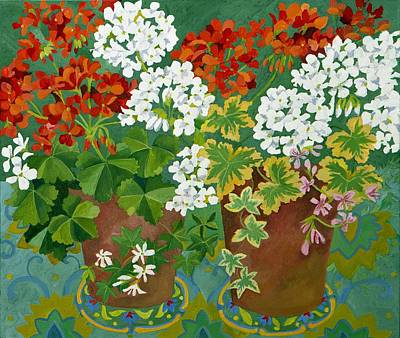 Red Leaf Painting - Red And White Geraniums In Pots by Jennifer Abbot