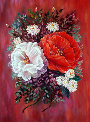Mums Painting - Red And White by Katreen Queen