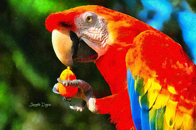 Parrot Painting - Red Arara Lunch Time by Leonardo Digenio
