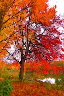 Plein Air Digital Art - Red Autumn Tree by Lilia D
