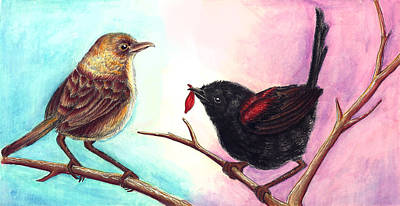 Wren Mixed Media - Red-backed Fairy Wren Lovers by Jennifer Schurr