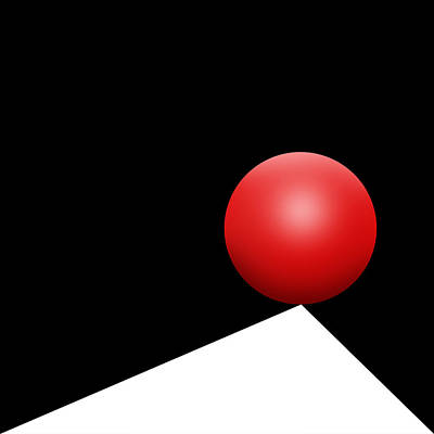 Op Art Drawing - Red Ball S Q 8 by Mike McGlothlen