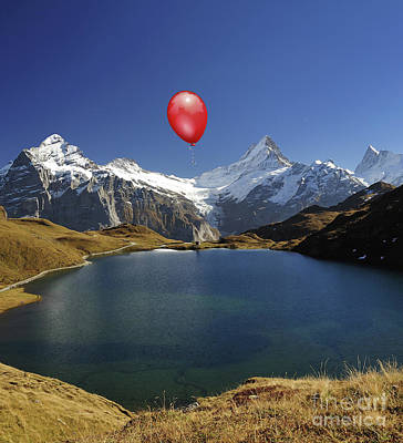 Switzerland Mixed Media - Red Balloon Over Grimsel Lake by Kathy Franklin