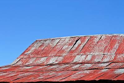 Barn Photograph - Red Barn And Blue Sky- Fine Art by KayeCee Spain
