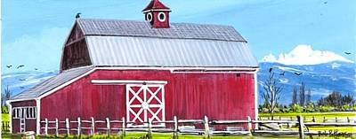 Tulip Festival Painting - Red Barn And Mt Baker by Bob Patterson