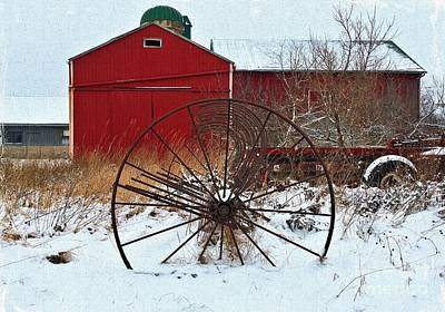 Farm Photograph - Red Barn Baler by Anthony Djordjevic