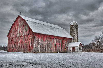 Red Barn In Winter Photograph - Red Barn by Brent Mosher