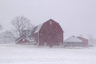 Red Barn In A Snowstorm Print by Randall Nyhof