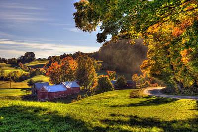 New England Fall Photograph - Red Barn In Autumn - Jenne Farm by Joann Vitali