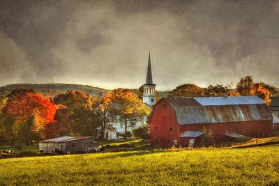 Red Barn In Fall - Peacham Vermont Print by Joann Vitali