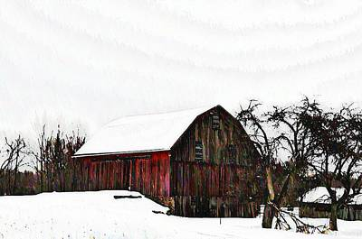 Red Barn In Snow Print by Bill Cannon