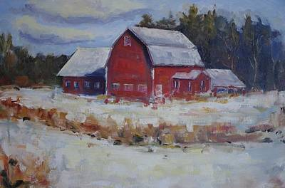 Red Barn In Snow Original by James Reynolds