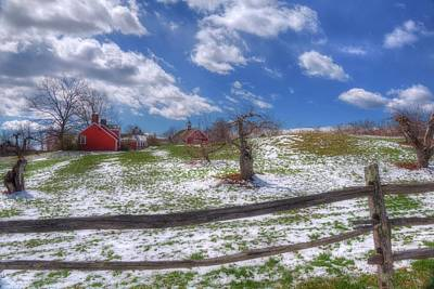 Red Barn In Snow - New Hampshire Print by Joann Vitali