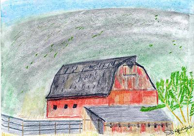 Old Barn Drawing - Red Barn by John Hoppy Hopkins