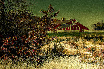 Red Barn Print by Mim White