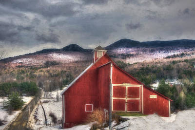 Red Barn In Winter Photograph - Red Barn On Old Farm - Stowe Vermont by Joann Vitali