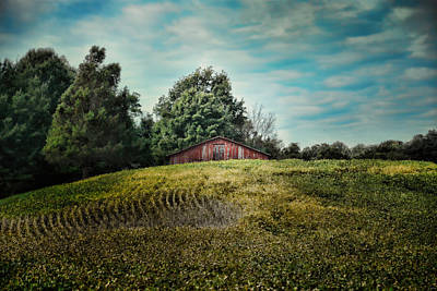 Barn In Tennessee Photograph - Red Barn On The Hill by Jai Johnson