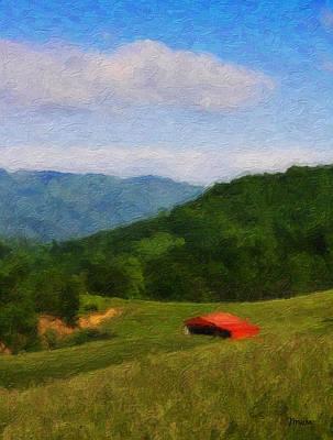 Red Barn On The Mountain Print by Teresa Mucha