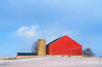 Old Barn Drawing Photograph - Red Barn View by Anthony Djordjevic