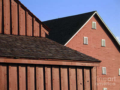 Red Barns And Blue Sky With Digital Effects Print by William Kuta