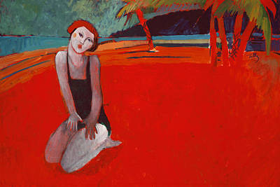 Dining Room Italian Painting - Red Beach Two by Thomas Tribby