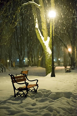Snowy Night Photograph - Red Bench In The Park by Jaroslaw Grudzinski